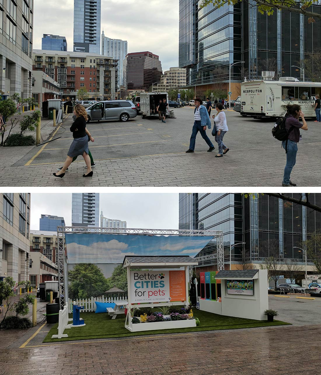 Austin before and after adding a pop-up park for city pets