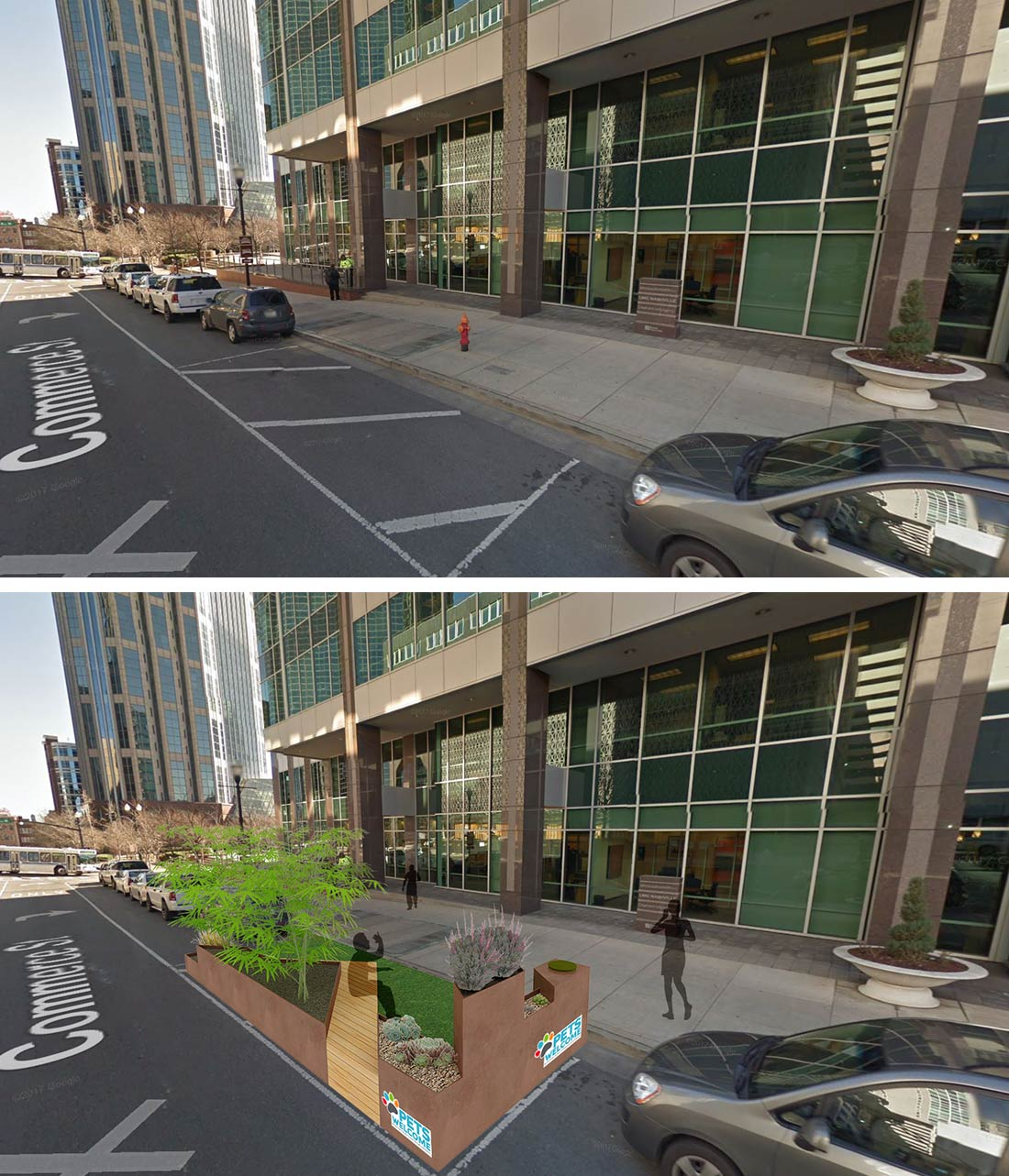 street before and after adding a parklet