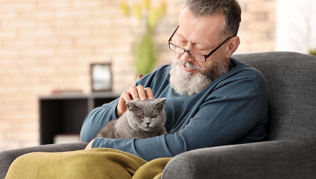 Man enjoying life with a pet