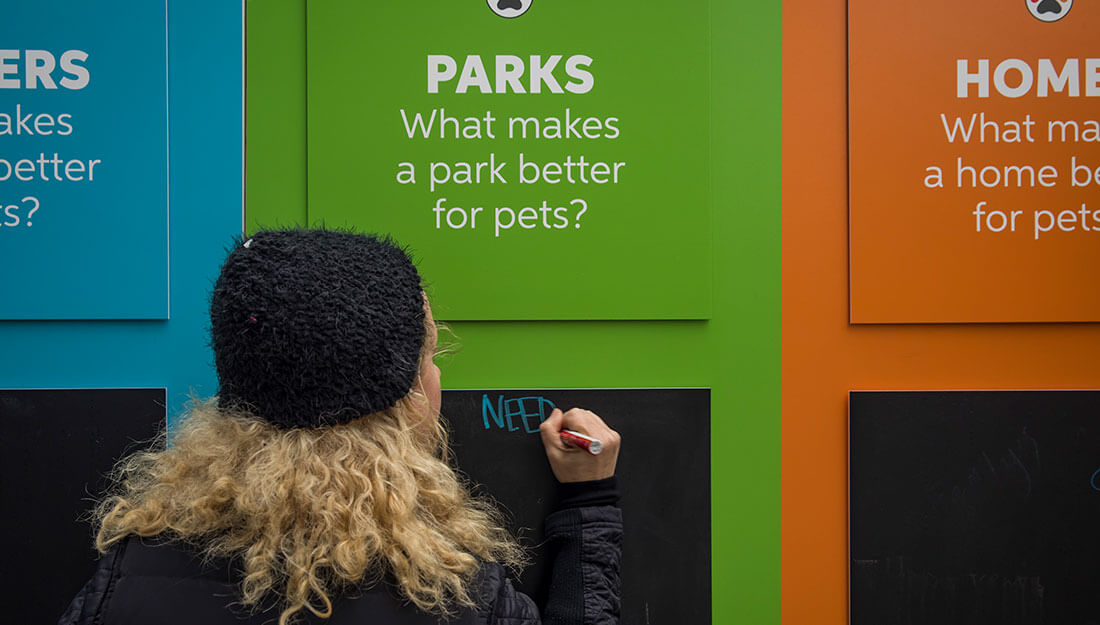 woman giving input on what makes cities pet friendly