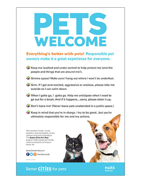 Code of conduct poster with dog and cat.