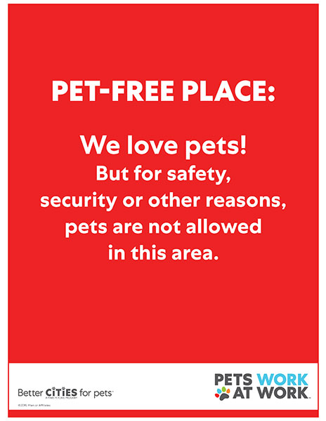 Pet-free place sign.