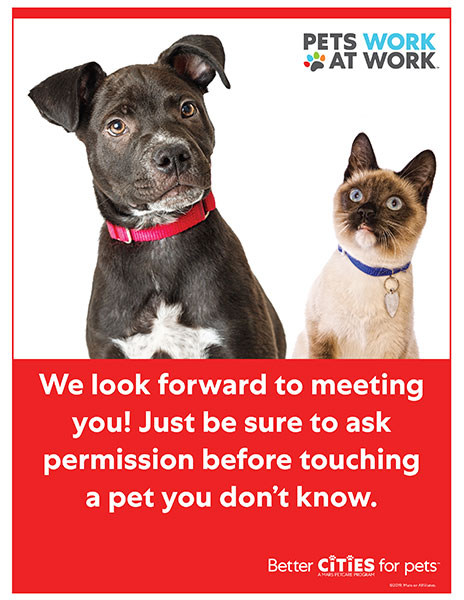 Pet-friendly workplace poster.