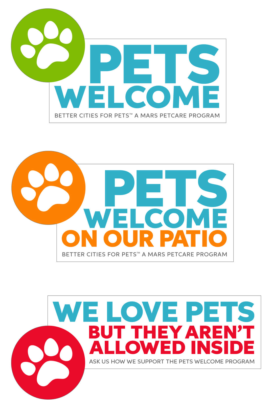 pets welcome window clings