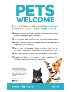 pet rules poster with dog and cat