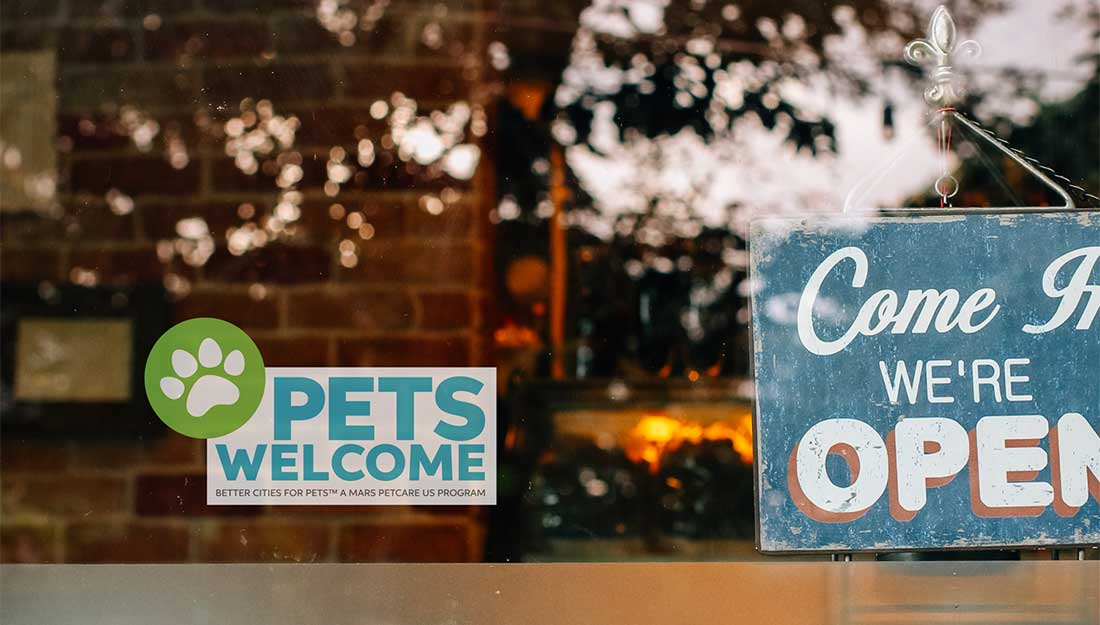 Pets Welcome window cling on window