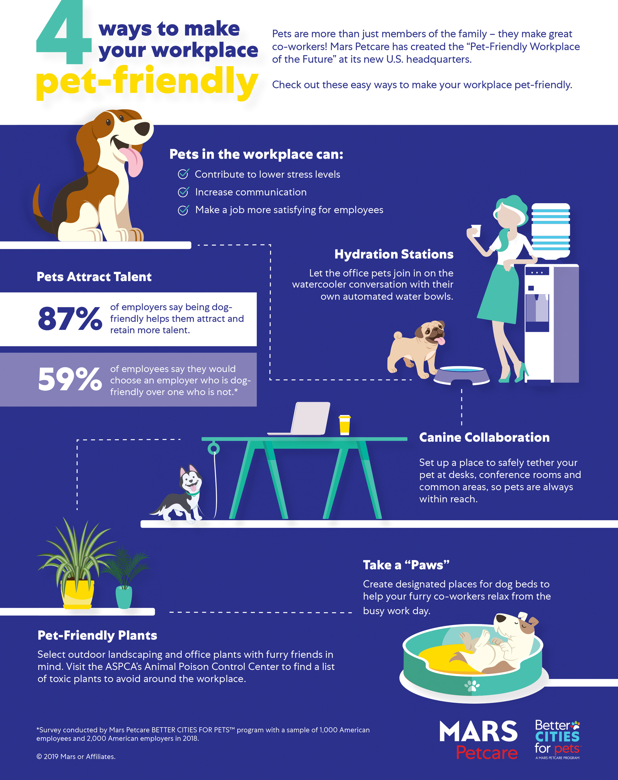 Infographic with ideas like hydration stations and safe tethers at desks.