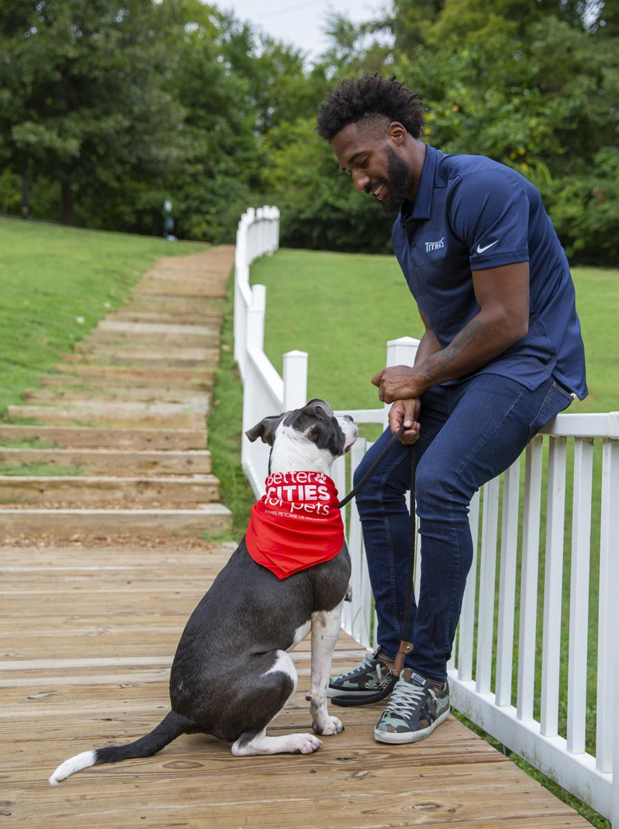 Logan Ryan with an adoptable shelter dog.