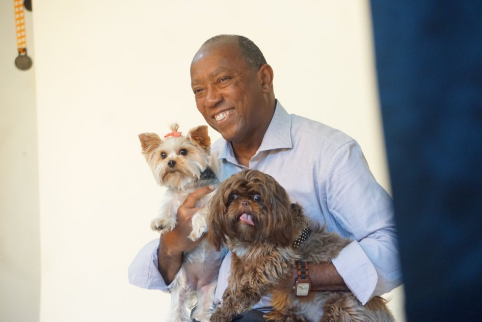 Houston Mayor with dogs