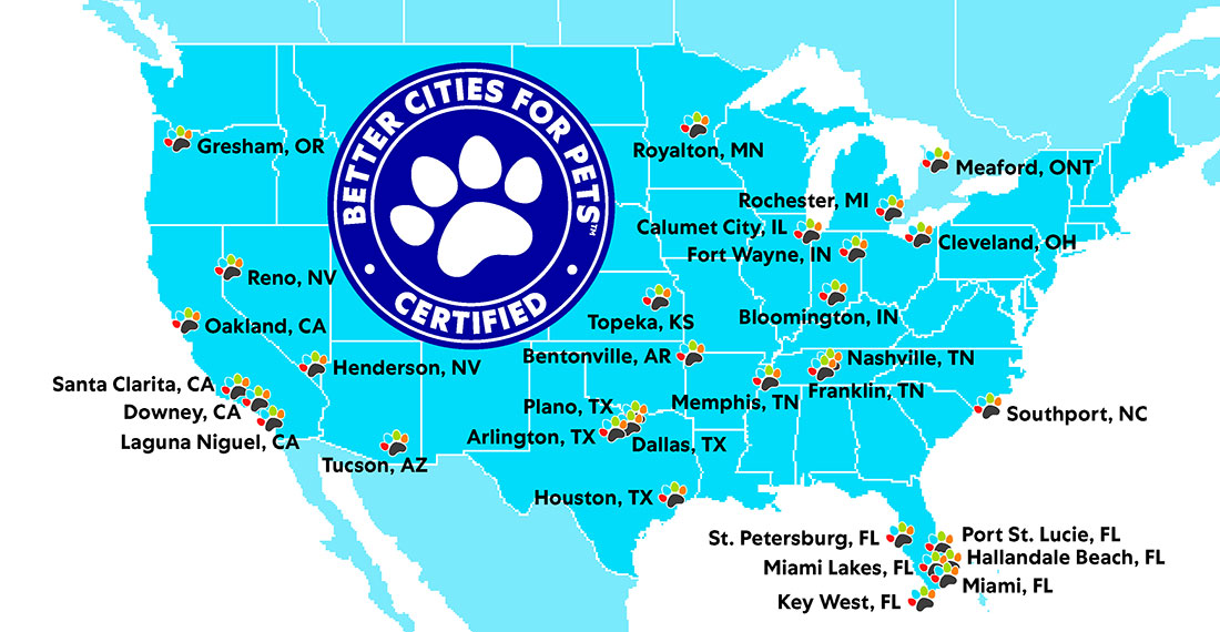Map of cities certified by the Better Cities For Pets program