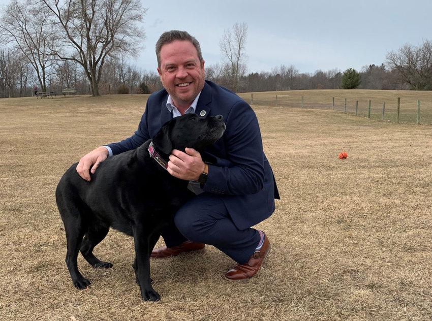 Supervisor Chris Barnett at dog park
