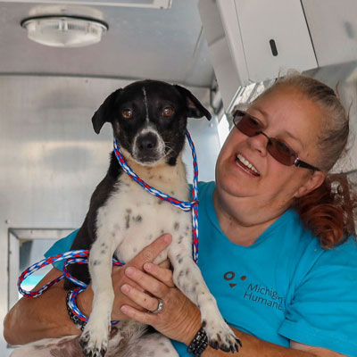 a dog held by a shelter volunteer
