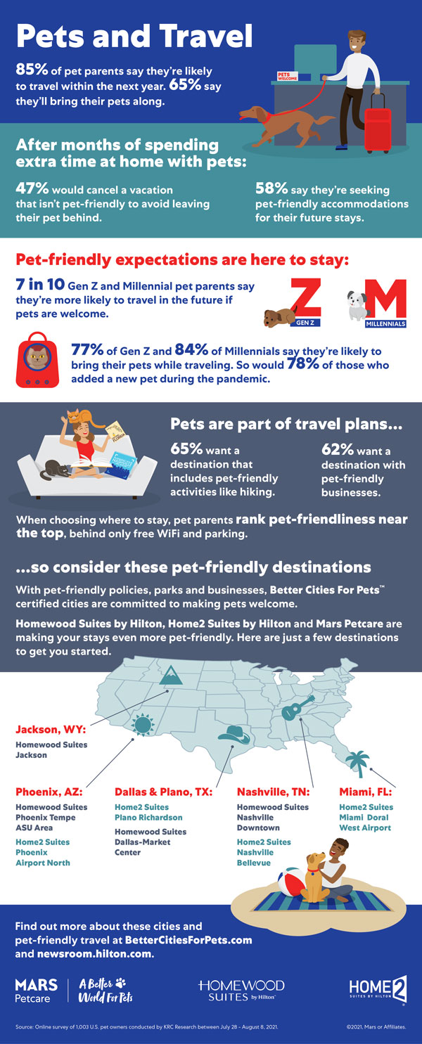 Infographic showing stats about travel with pets